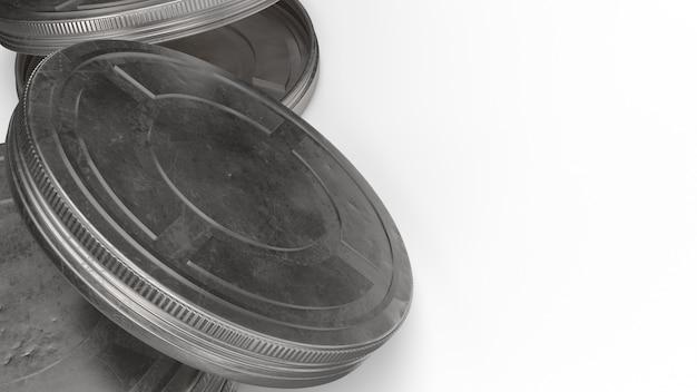 Casos de bobina de filme renderização em 3d para o conteúdo dos bastidores.