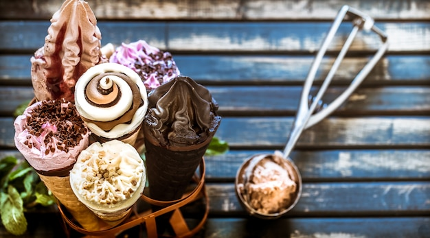 Casquinha de sorvete na barraca