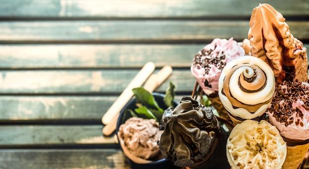 Casquinha de sorvete no carrinho