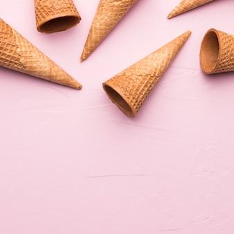Casquinhas de sorvete oco