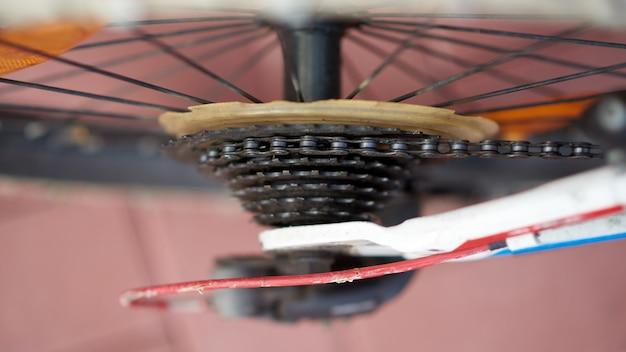 Cassete de bicicleta no fim acima