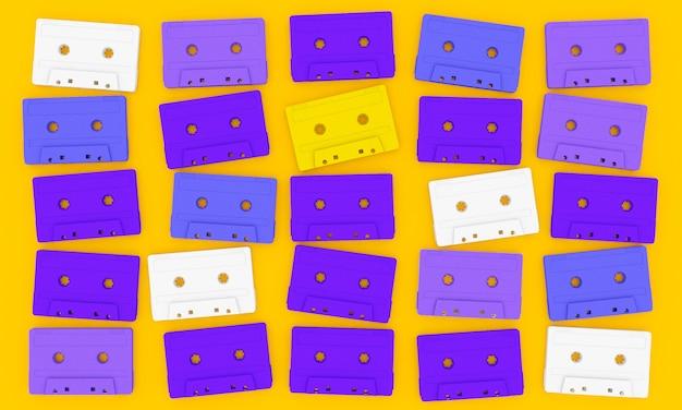 Cassete de fita de áudio em amarelo