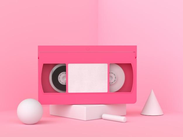Cassete de fita de vídeo rosa renderização 3d estilo minimalista