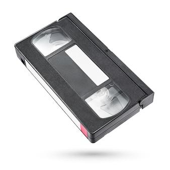 Cassete de fita de vídeo vhs preta isolada no branco