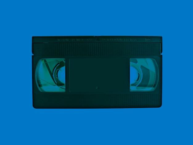 Cassette vhs com efeito de cor azul