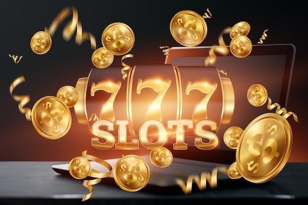 Cassino online, laptop com caça-níqueis com jackpot e moedas de ouro. slots online, lucky seven 777, estilo ouro escuro. conceito de sorte, jogo, jackpot, banner.