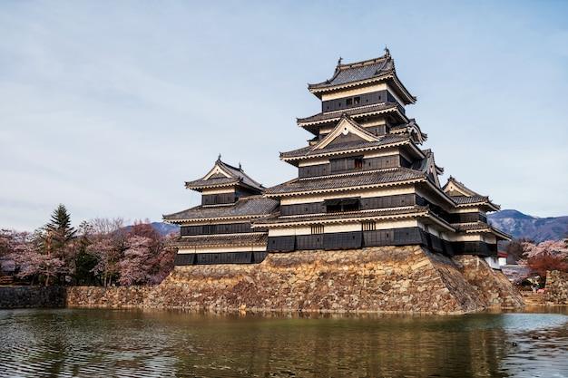 Castelo de matsumoto com sakura na primavera