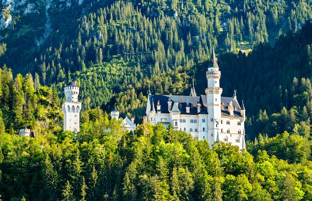 Castelo de neuschwanstein em uma colina nos alpes da baviera, alemanha