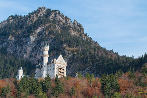 Castelo de neuschwanstein no outono, fussen, baviera, alemanha