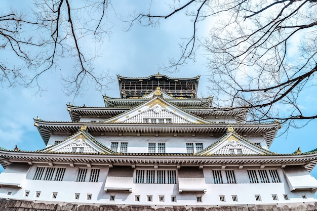 Castelo de osaka, no japão com fundo desfocado