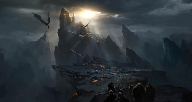 Castelo escuro no vale, atmosfera escura do inferno.