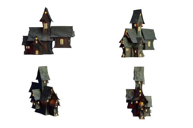 Castelo negro isolado em backgroung branco com traçado de recorte, renderização de ilustração 3d