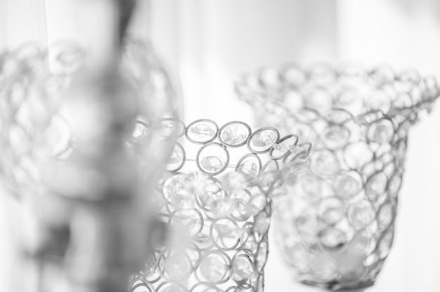 Castiçal de cristal sparkle é o que é usado para decorações de casamento