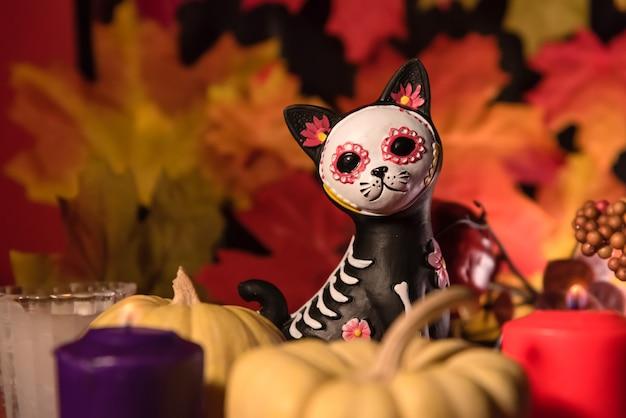 Cat catrina skull dia da celebração dos mortos