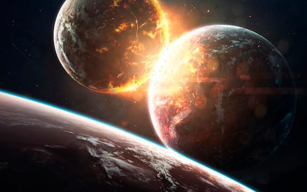 Cataclismo do planeta. visualização do espaço de ficção científica. explosão cósmica. elementos desta imagem fornecidos pela nasa
