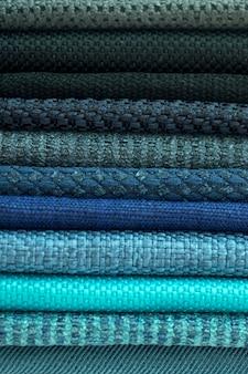 Catálogo de pano multicolorido de fundo de textura de tecido fosco, textura de tecido de seda, fundo de indústria têxtil com tecido de algodão colorido desfocado, macro, catálogo de tecidos