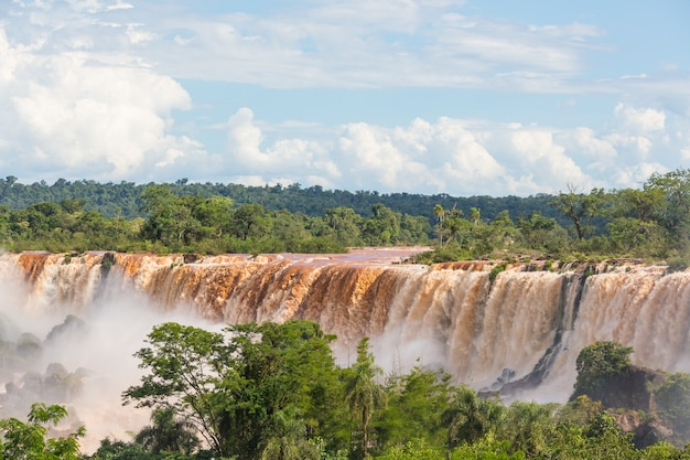 Cataratas impessivas do iguaçu (iguaçu) na fronteira argentina - brasil, filtro do instagram. cachoeiras poderosas nas selvas.