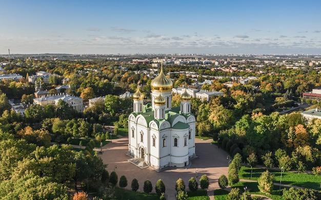 Catedral de santa catarina em pushkin. vista aérea