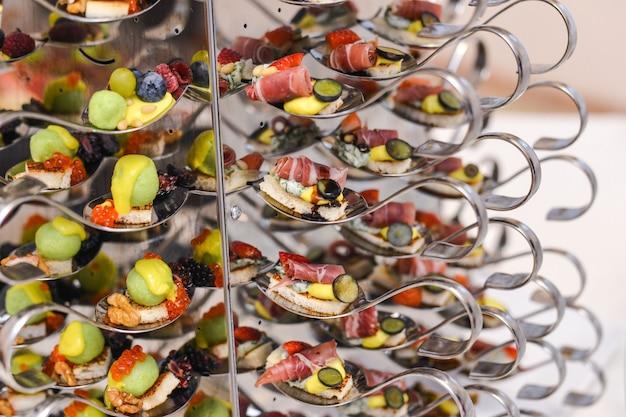 Catering canapés de lanches de alimentos