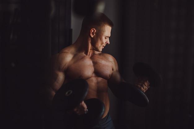 Caucasiano, desporto, abdominal, fundo, parede