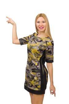 Caucasiano, menina, em, estilo militar, vestido, isolado