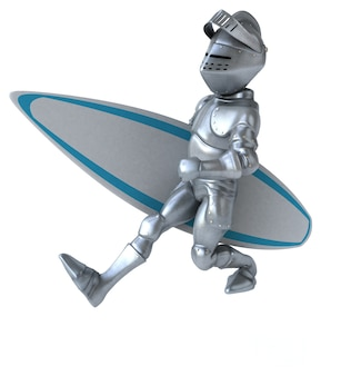 Cavaleiro de desenho animado 3d surfando