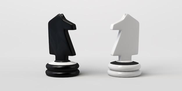 Cavaleiro de xadrez preto e branco frente a frente. isolado em um fundo branco.