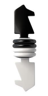 Cavaleiro de xadrez preto e branco virado de cabeça para baixo. isolado em um fundo branco. ilustração 3d.