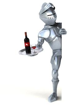 Cavaleiro divertido segurando uma garrafa de vinho tinto