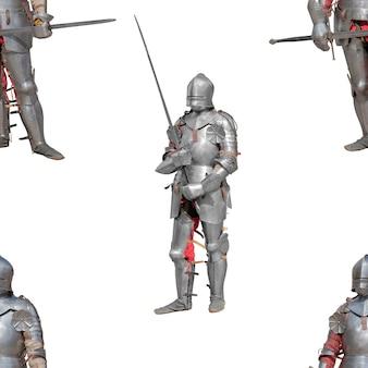 Cavaleiro em armadura de metal brilhante em um fundo branco. padrão uniforme.