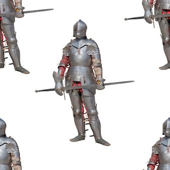 Cavaleiro em armadura de metal brilhante. padrão uniforme.