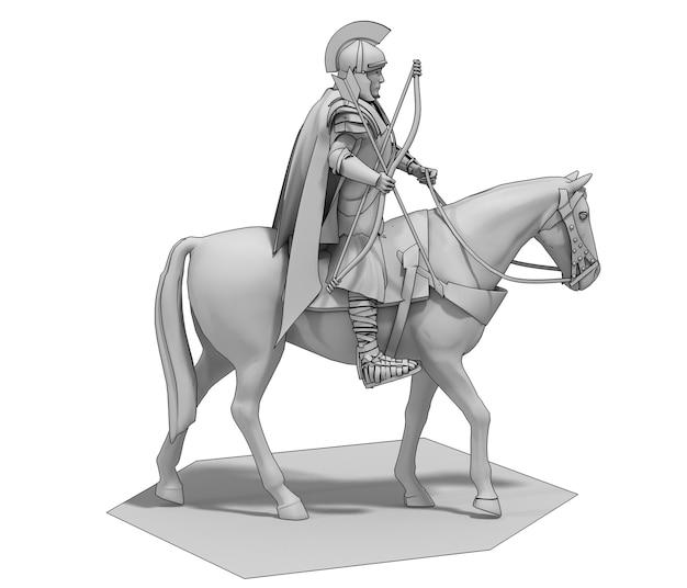 Cavaleiro guerreiro a cavalo renderização 3d ilustração 3d