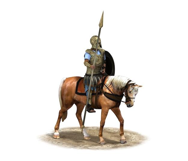 Cavaleiro guerreiro a cavalo renderização 3d