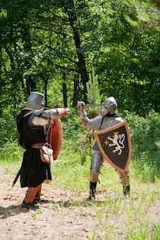 Cavaleiros em armadura estão lutando
