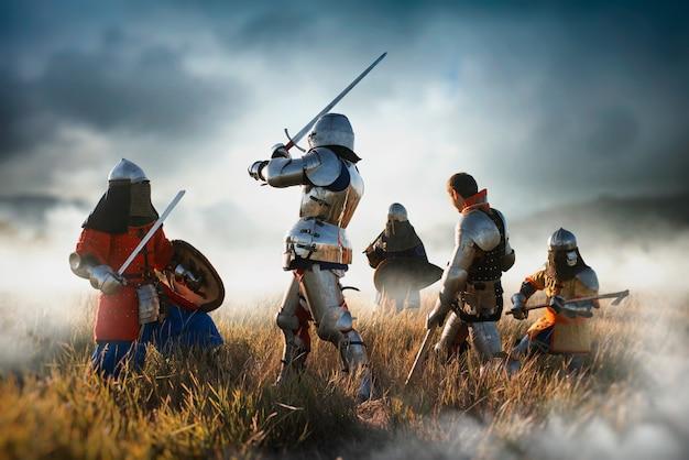 Cavaleiros medievais lutam, ótimo combate