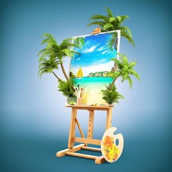 Cavalete com uma bela foto de paisagem tropical e palmeiras reais