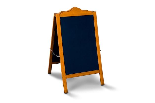 Cavalete de quadro de menu de calçada. quadro-negro em branco