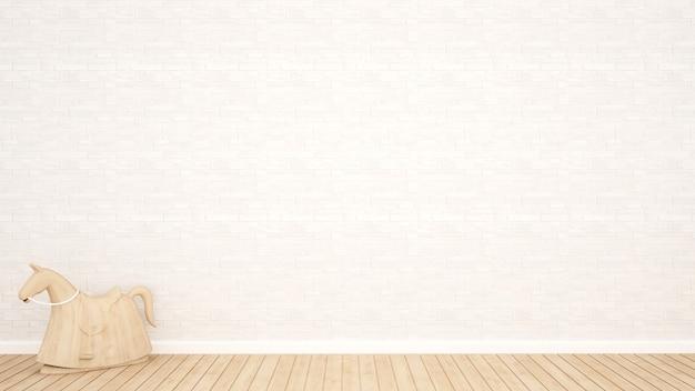 Cavalo de balanço de madeira e decoração de parede de pedra branca