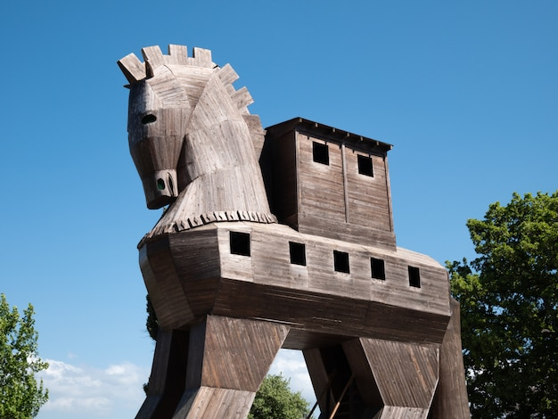 Cavalo de tróia em tróia, fundo de viagens