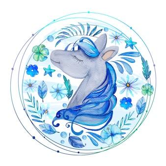 Cavalo em aquarela com flores azuis