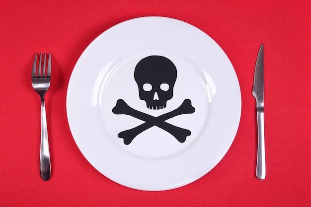 Caveira e ossos em um prato branco e talheres em uma toalha de mesa vermelha. conceito de comida venenosa.
