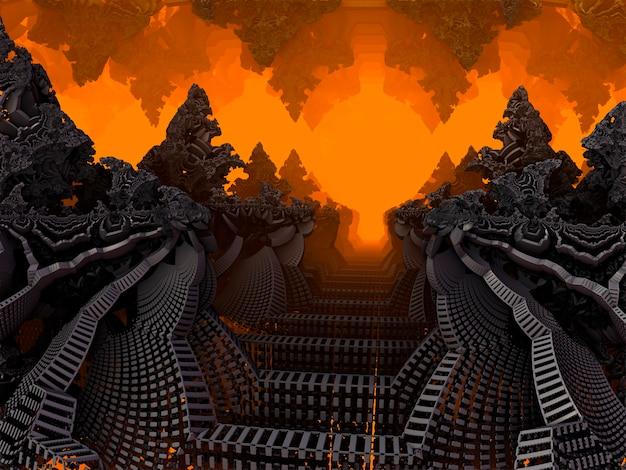 Caverna fractal com estalactites e estalagmites., mostra uma caverna nas profundezas da terra. várias luzes brilham através dos diferentes padrões. renderização 3d.