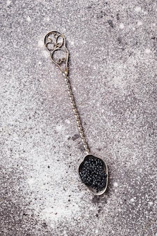 Caviar de esturjão preto na colher