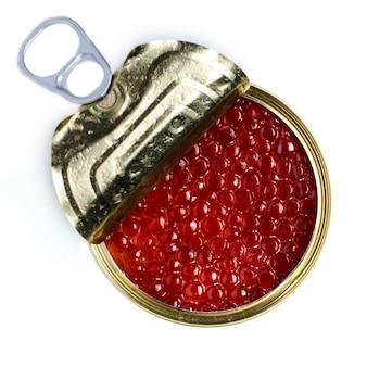 Caviar vermelho de peixe salmão. lata de metal.