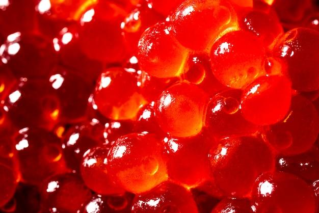 Caviar vermelho, tiro macro, foco em um centro