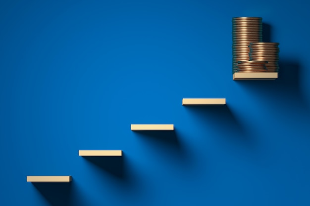 Cavilhas de madeira formando uma escada para a riqueza