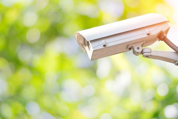Cctv do close up ou câmara de vigilância no jardim com fundo verde colorido da natureza.
