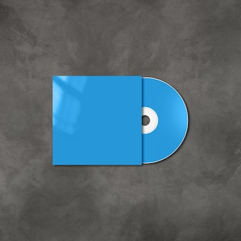Cd azul - rótulo de dvd e modelo de maquete de capa isolado no fundo de concreto