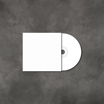 Cd branco - rótulo de dvd e modelo de maquete de capa isolado em fundo de concreto