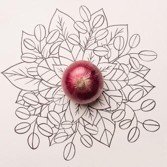 Cebola vermelha sobre fundo floral contorno